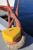 Bollard, port detail and ship — Stock Photo