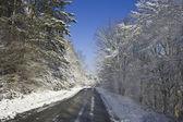 Snowy mountain road — Foto Stock
