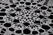 White Crochet Lace on Black Background — Stock Photo