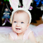 Cute baby bunny with ears — Stock Photo