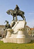 La statua del re mattia corvino — Foto Stock