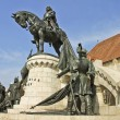 Stock Photo: The statue of the king Matthias Corvinus from the front