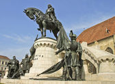 The statue of the king Matthias Corvinus from the front — Стоковое фото