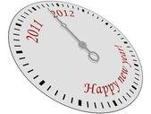 Feliz año nuevo reloj — Vector de stock