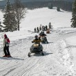 Stock Photo: snowmobiling