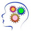 Brain with gears — Stock Vector