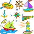 Stock Vector: Nautical boat set