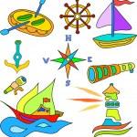 Nautical boat set — Stock Vector