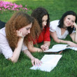 Three girls on the grass ready for lessons — Stock Photo #10608787