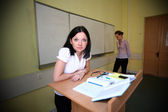 Loser student and teacher of evil — Stock Photo