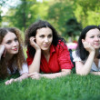 Three friends on the grass — Stock Photo