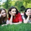 Stock Photo: Three friends on the grass