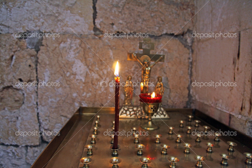 Religious place for the blessed candles — Zdjęcie stockowe #9936791