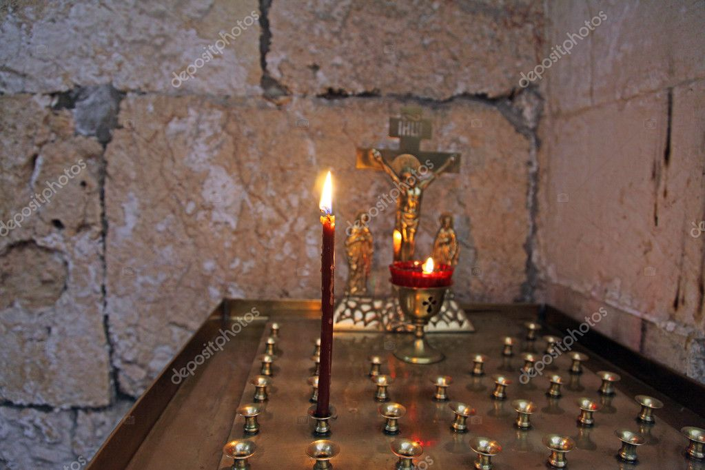 Religious place for the blessed candles — Stockfoto #9936791