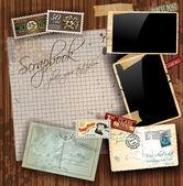 Composition de scrapbooking vintage — Vecteur