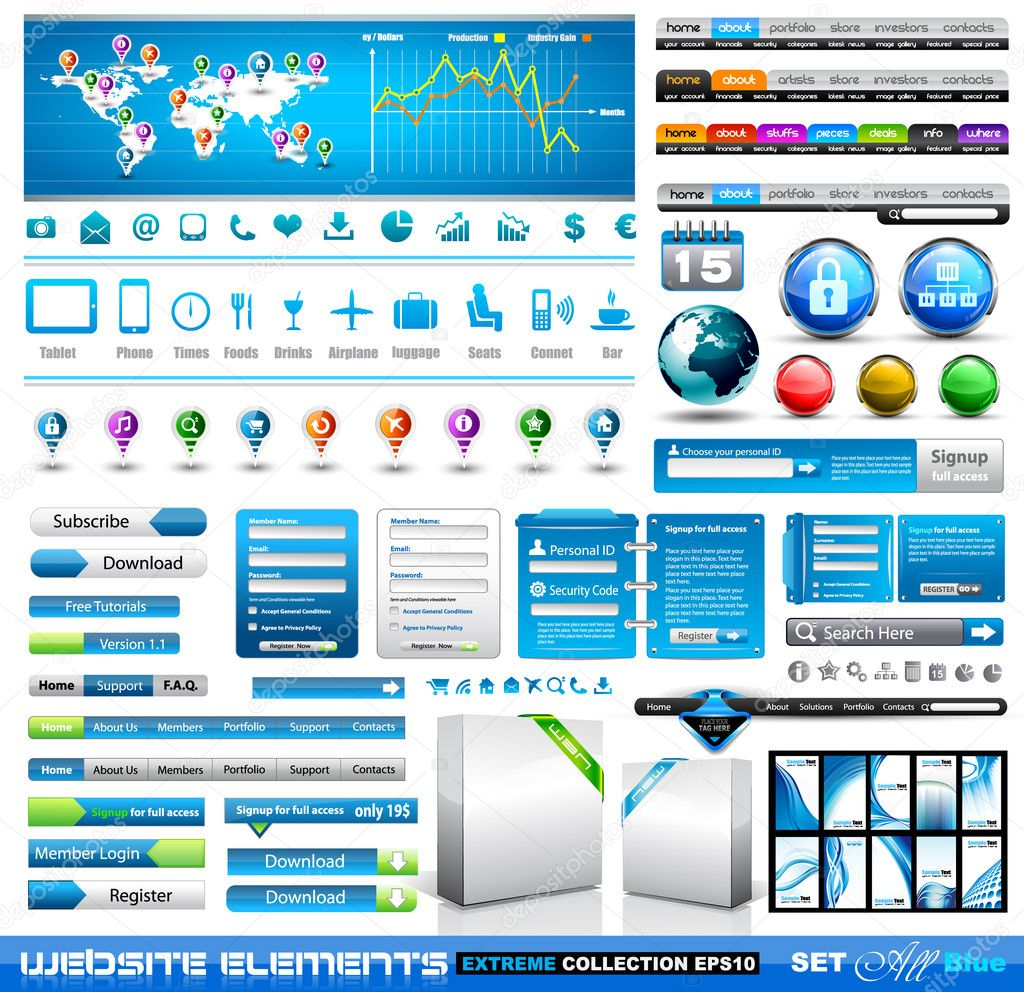 Premium infographics and Web stuff  master collection: graphs, histograms, arrows, chart, 3D globe, icons and a lot of related design elements. — Stock Vector #8525076
