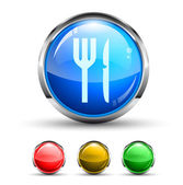 Restaurant Cristal Glossy Button — Stockvektor