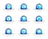 Set of nine glossy circular icons: — Stock Vector