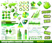 Premium Eco Green infographics master collection: — Stock Vector