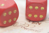 Two Dice on Bank Note. — Stock Photo