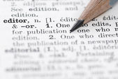 Editor Definition in English Dictionary. — 图库照片