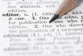 Edytor definicji w słowniku języka angielskiego. — Zdjęcie stockowe
