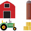 Farm with Red Barn Tractor and Animals — 图库照片