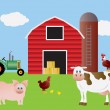 Farm with Red Barn Tractor and Animals — Stockvectorbeeld