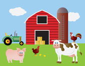 Farm with Red Barn Tractor and Animals — Stockvector