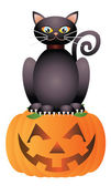 Halloween Cat Sitting on Pumpkin Illustration — Stock Vector
