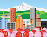 Portland Skyline Illustration — Stock Vector