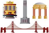 San Francisco Landmarks Illustration — Stock Vector