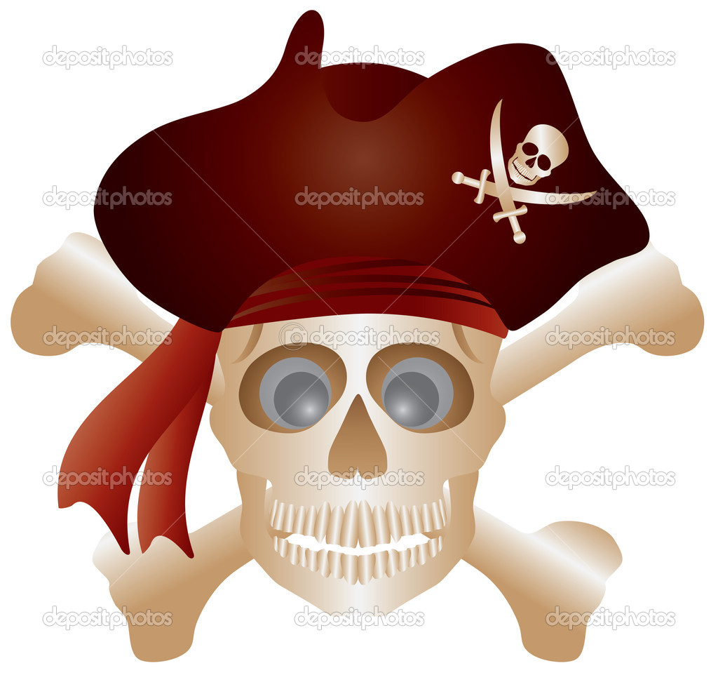 Skull with Pirate Hat and Cross Bones Isolated on White Background Illustration — Stock Vector #10197364