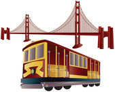 Teleférico de san francisco y el puente golden gate — Vector de stock