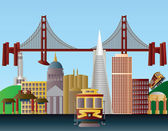 San Francisco City Skyline Illustration — Stock Vector