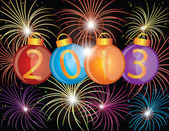 2013 New Year Ornaments and Fireworks Illustration — Stock Photo