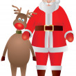 Santa Claus and Reindeer Illustration — Stock Vector