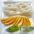 Thai Sweet Mango with Sticky Rice Vertical — Stock Photo