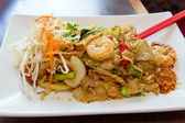 Thai Pad Kee Mao Rice Noodle with Prawns — Stock Photo
