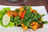 Thai Crispy Chicken with Basil Leaves — Stock Photo