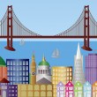San Francisco City Skyline Panorama Illustration — Stock Vector