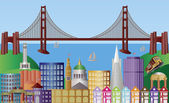 San Francisco City Skyline Panorama Illustration — Stockvector