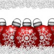 Five Red Ornaments Sitting on Snowflakes — Stock Photo