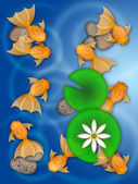 Fancy Goldfish Swimming in Pond Illustration — Stock Photo