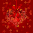 Christmas Snowflakes Heart Shape Ornament on Red Background — Stockfoto