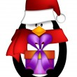 Penguin with Santa Hat with Present Clipart - Stock Photo