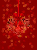 Christmas Snowflakes Heart Shape Ornament on Red Background — Stock Photo