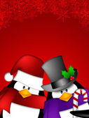 Penguin Couple on Red Snowflakes Background — Stok fotoğraf