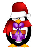 Penguin with Santa Hat with Present Clipart — Stockfoto
