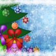 Foto Stock: Christmas Presents Under the Tree with Snowflakes